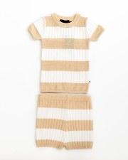 Contrast Stripe Knit Set White