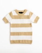 Contrast Striped S/S Sweater W