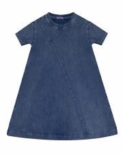 Denim Wash Dress W/ Rib Sleeve