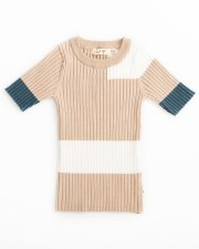 Colorblock S/S sweater Sand 6X