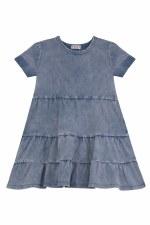 Denim Washed Tiered Dress Medi