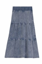 Long Washed Denim Tiered Skirt