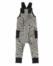 Geometric Knit Overalls Black
