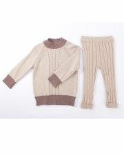 Contrast Knit Baby Set Oatmeal