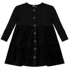Tiered Velour-Rib Combo Dress