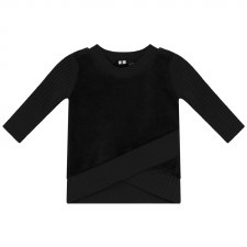 Velour Top W/ Rib Trim Black 6
