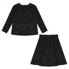 Gold Speckled Girls 2pc Black