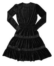 Tierred Velour Teen Dress Blac