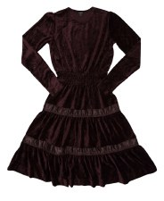 Tierred Velour Teen Dress Burg