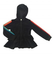 Velour Hoodie W/ Rainbow Strip