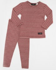 Striped Ribbed PJ Mauve 4