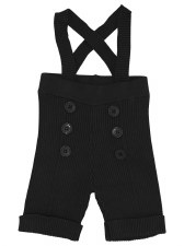 Ribbed Overalls W/ Buttons Bla