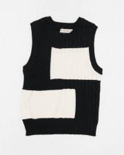 Ribbed Vest Black/Cream 7