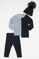 Colorblock Rib Baby Set Black/