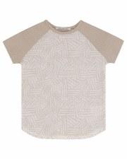 S/S Dot Shirt W/ Rib Sand 2