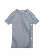 S/S Sweater W/ Buttons Grey/Bl
