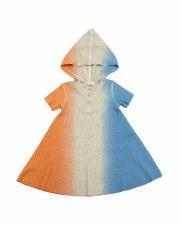 Dip Dye Waffle Dress Blue/Oran