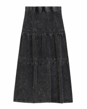 Long Tiered Denim Wash Skirt G