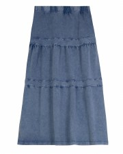 Long Tiered Denim Wash Skirt L