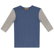 Ribbed Colorblock Tshirt Denim