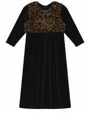 Velour Robe W/ Fur Black 3