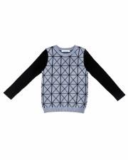 Geometric Knit Sweater Blue/Bl