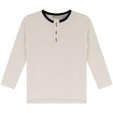 Textured Shirt W/ Trim Cream/B