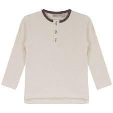 Textured Shirt W/ Trim Cream/C