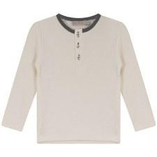 Textured Shirt W/ Trim Cream/G