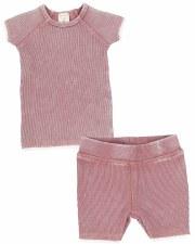 Denim Wash Short Set Pink 2T