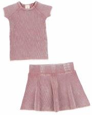 S/S Denim Wash Set Pink 4T