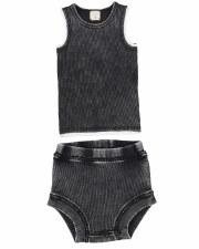 Denim Wash Bloomer Set Black 1