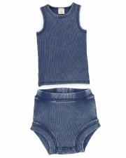 Denim Wash Bloomer Set Blue 9M