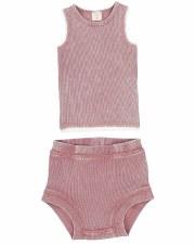 Denim Wash Bloomer Set Pink 3T