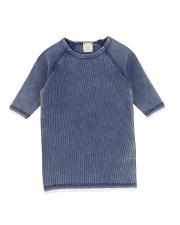 3/4 Sleeve Denim Wash Tee Blue