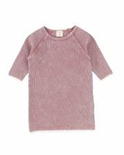3/4 Sleeve Denim Wash Tee Pink