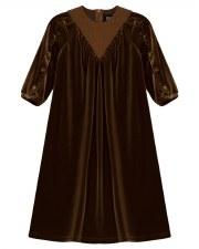 "Velour Robe W/ Rib ""V"" Cognac"