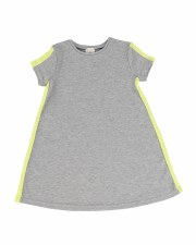 Linear S/S Dress Grey/Neon 2T