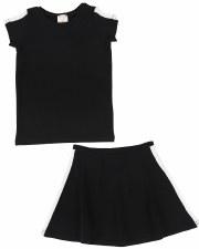 S/S Linear Skirt Set Black/Whi
