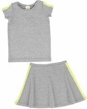 S/S Linear Skirt Set Grey/Neon