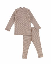 Mini Stripe Stitch Set Brown/W