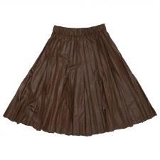 Pleather Pleated Skirt Cognac