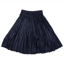Pleather Pleated Skirt Navy L(