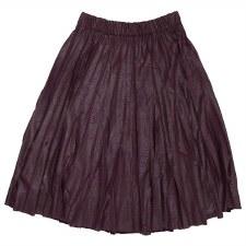 Pleather Pleated Skirt Plum M(