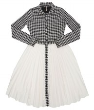 Houndtooth Teen Dress W/ Pleat