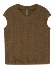 Cable Knit Teen Vest Camel XXS
