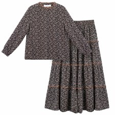 Floral Teen Tiered 2pc Black X