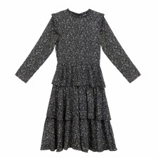 Floral Tiered Teen Dress Black