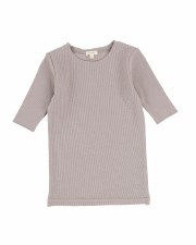 3/4 Sleeve Ribbed Tshirt Taupe