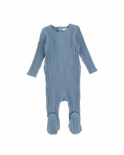 Wide Ribbed Footie Blue 12M